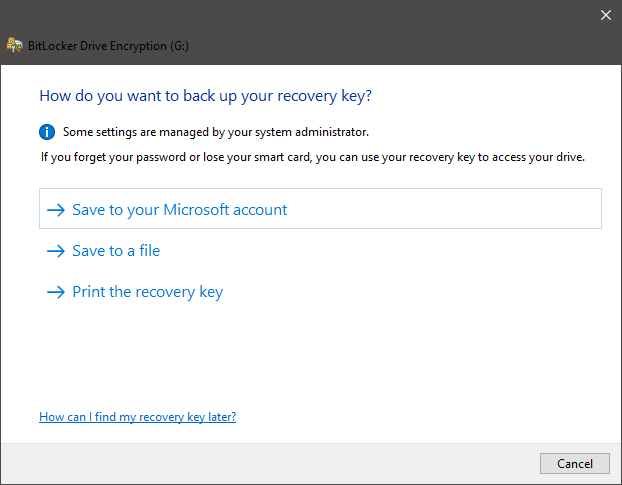 Choosing how to back up the BitLocker recovery key