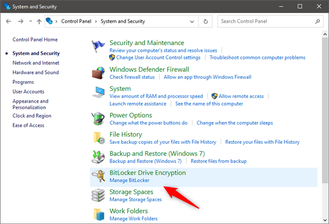 BitLocker Drive Encryption in Control Panel
