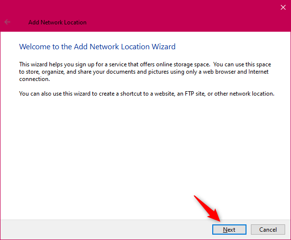 The Add Network Location wizard