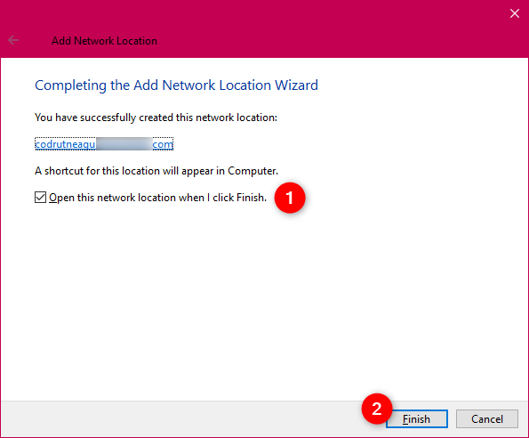 Finishing the Add Network Location wizard