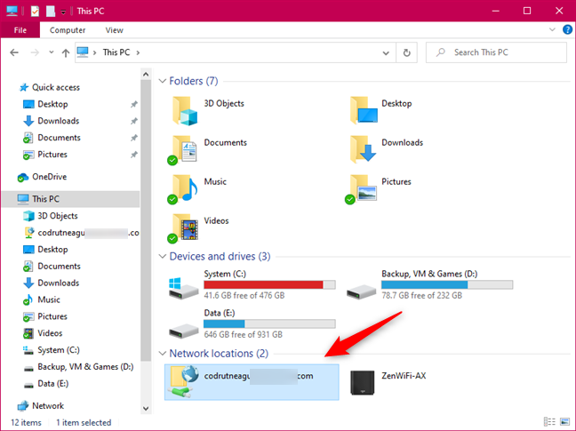 Network locations in File Explorer