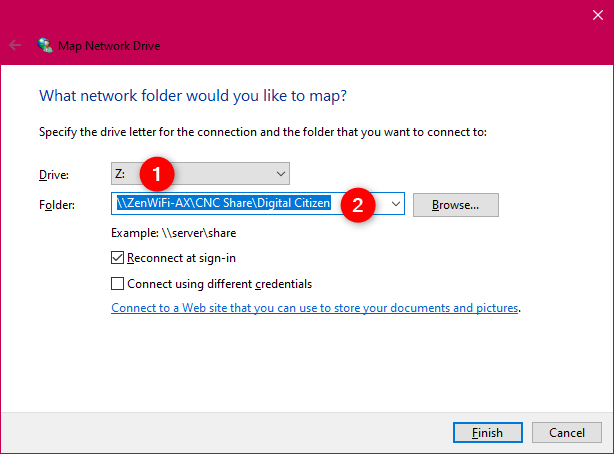 Choosing the folder to map as a network drive