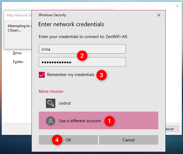 Choosing to use a different account to connect to the mapped network drive