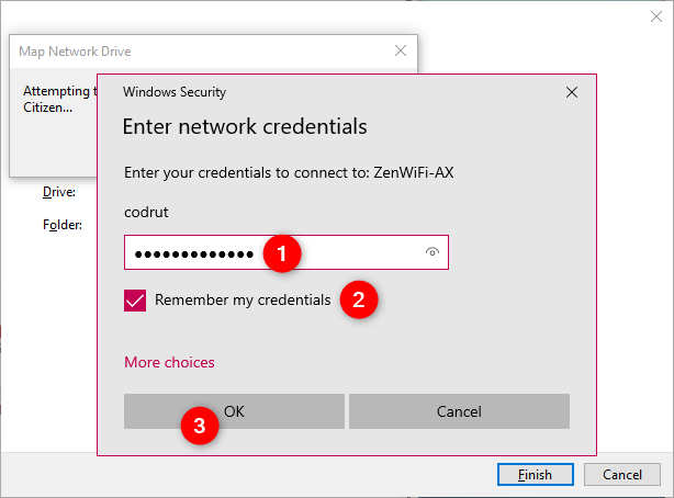 Entering the network credential to the mapped network drive
