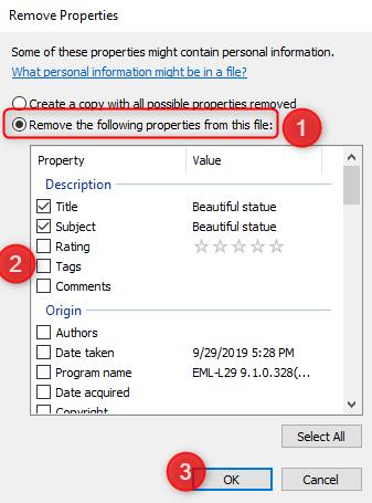 Eliminar las siguientes propiedades de este archivo