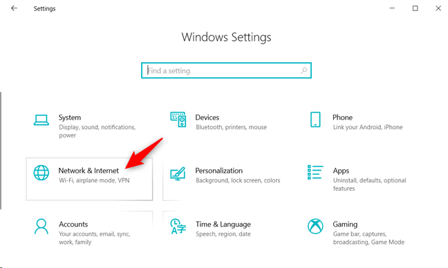 The Network & Internet category from Windows 10 Settings