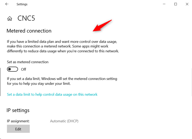 The Metered connection settings from Windows 10