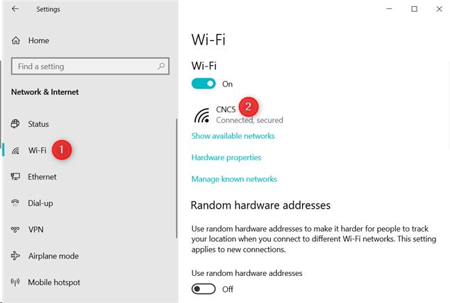 The Wi-Fi section from the Windows 10 Settings