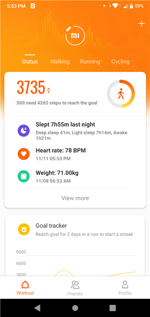 The Mi Fit app main screen