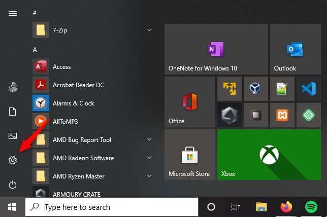The Settings button from Windows 10's Start Menu