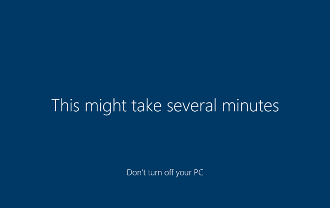 Waiting for Windows 10 to set up things