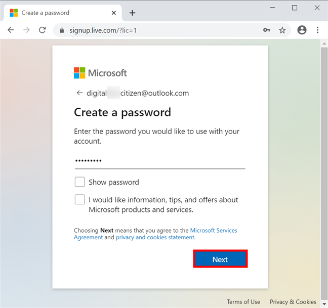 Choose a password and press Next