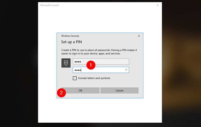 Setting up a PIN for the Microsoft account