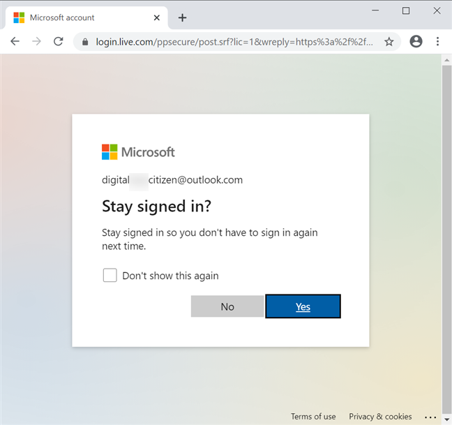 Your browser can keep your signed in