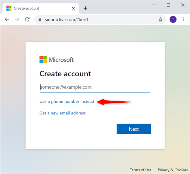 Use a phone number to create a Microsoft account without email