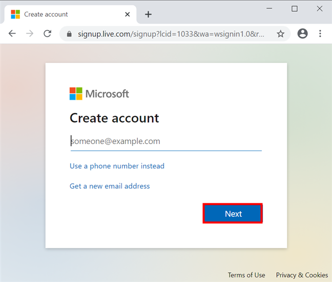 Enter your main email address to start creating a Microsoft account