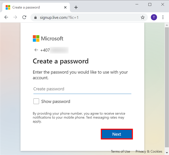 Create a password for your Microsoft account