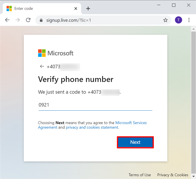 Verify your phone number by inserting the code received on it