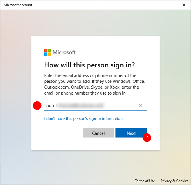 Entering the details required to add a Microsoft account to Windows 10