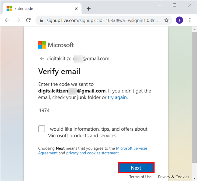 Verify email and press Next