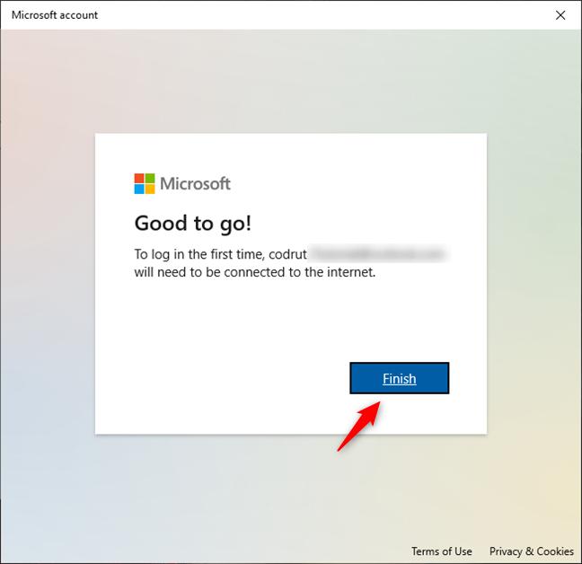 Finish adding a Microsoft account to Windows 10