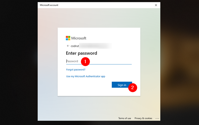 Authenticate using the newly added Microsoft account