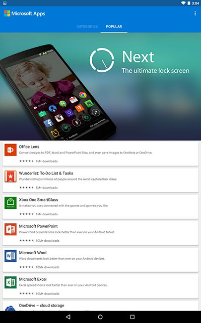 Microsoft Apps, portal, store, Android, Google Play, strategy