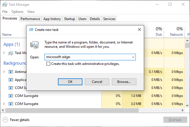 Open Microsoft Edge using the Task Manager