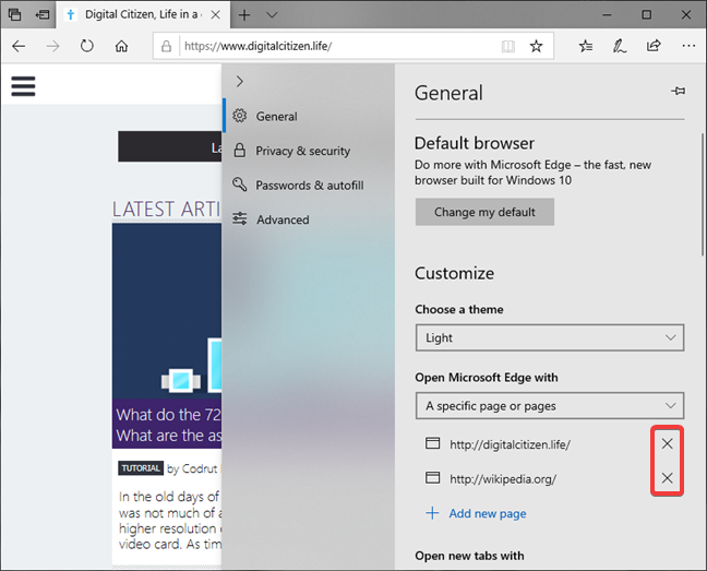 How to delete a start page in Microsoft Edge
