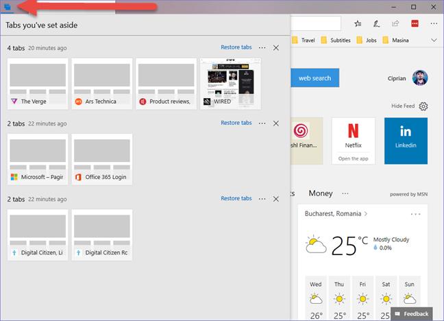 Windows 10, Microsoft Edge, set aside, tabs