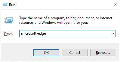 Open Microsoft Edge using the Run window
