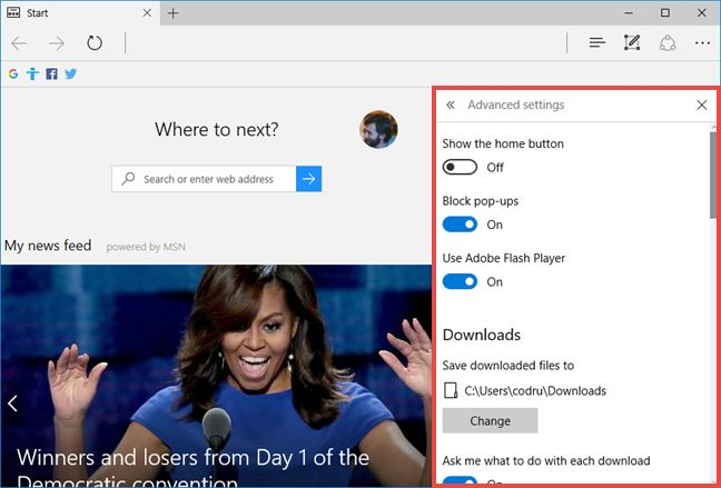 Microsoft Edge, downloads, folder, settings, Windows 10