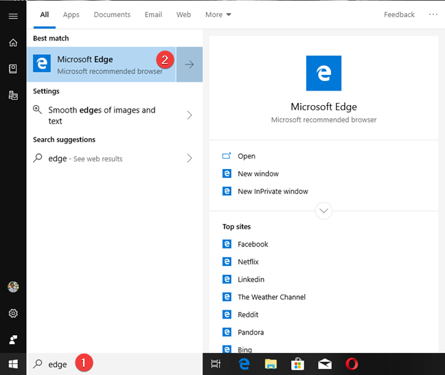 Search for Microsoft Edge in Windows 10