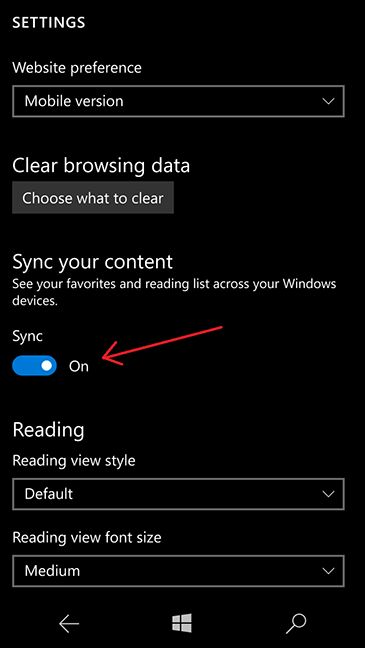 Microsoft Edge, sync, favorites, reading list, devices, Windows 10, Windows 10 Mobile