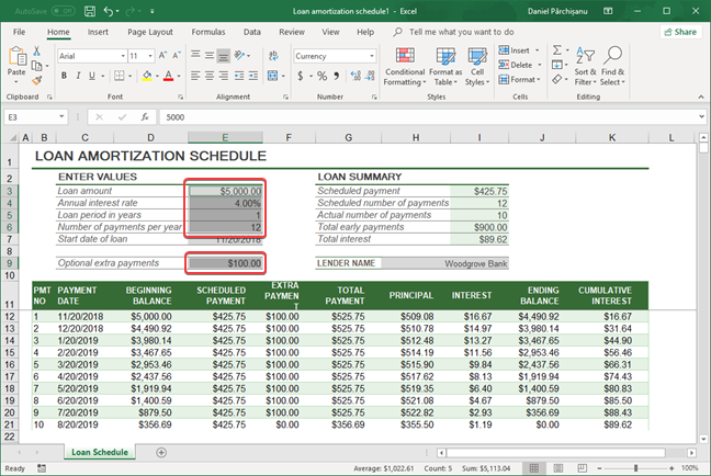 Spreadsheet with numbers only selected in Microsoft Excel