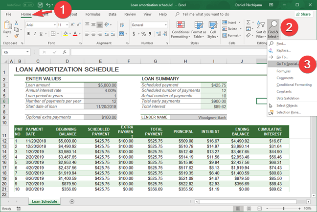 Select Go To Special in Microsoft Excel