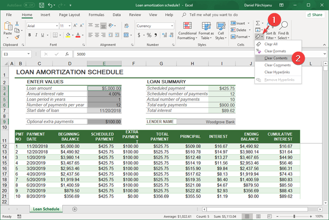 Clear contents in Microsoft Excel