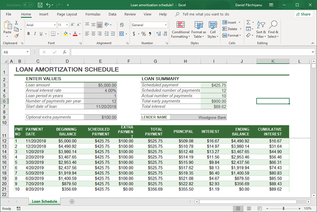 Microsoft Excel spreadsheet where we want to keep only the formulas