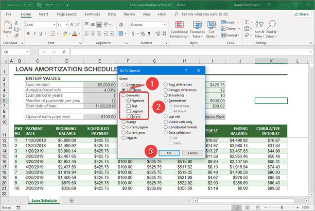Select Numbers only in Microsoft Excel