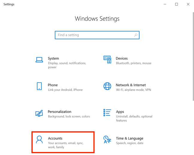 Access Accounts settings