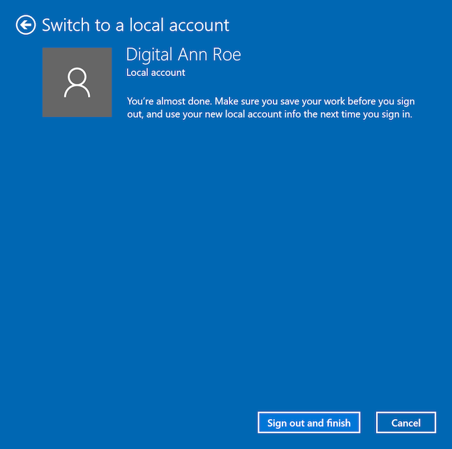 Complete the switch to a local account