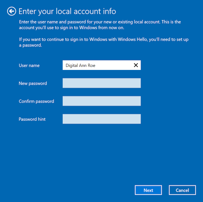 Insert the required info for your Windows 10 local account