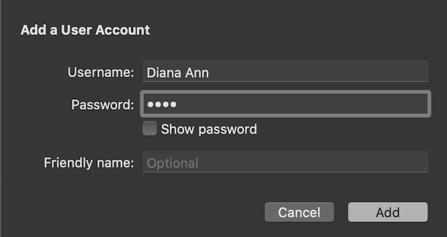 Click Add to save the Username and Password