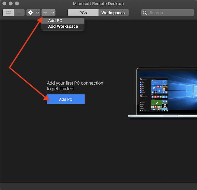 Click Add PC in Microsoft Remote Desktop