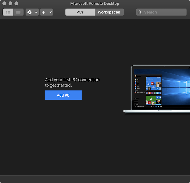 Microsoft Remote Desktop opens