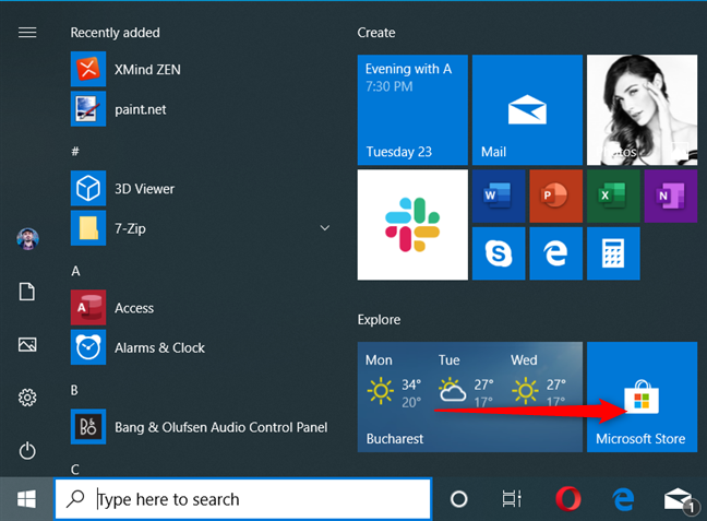 The Microsoft Store shortcut in Windows 10