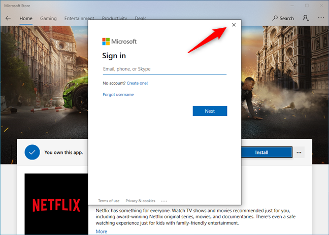 Closing the Sign in (to Microsoft account) popup
