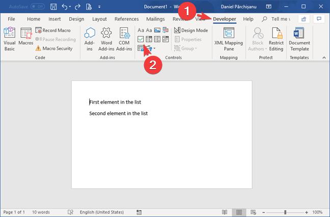 Insert a Check Box Content Control in Microsoft Word