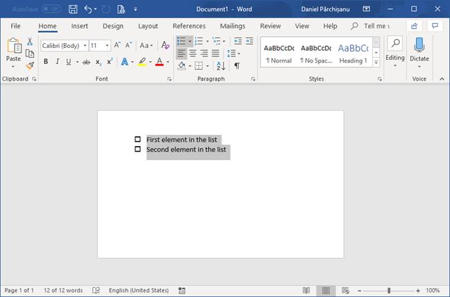 Checklist in Microsoft Word