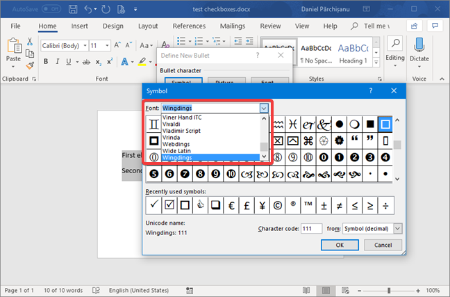 The Symbol window from Microsoft Word